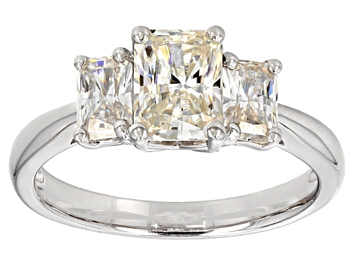 Photo of Moissanite Fire® 3.20ctw Diamond Equivalent Weight Rectangular Radiant Cut Platineve™ Ring - Size 7
