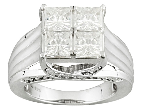 Photo of Moissanite Fire ® 2.70ctw Dew Princess Cut And Round Platineve Ring - Size 8