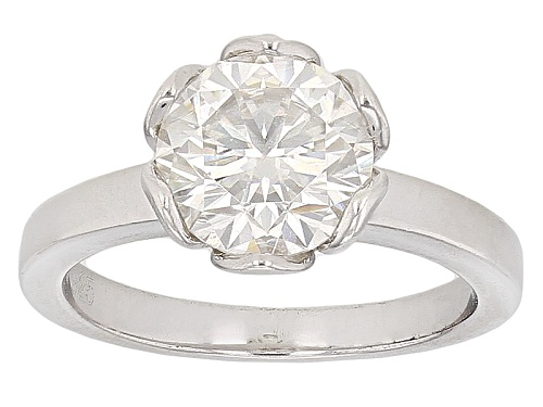 Photo of Moissanite Fire® 2.20ct Diamond Equivalent Weight Round Platineve™ Ring - Size 10