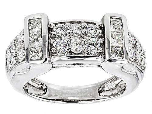 Photo of Moissanite Fire® 1.44ctw Dew Princess Cut And Round Platineve™ Ring - Size 5