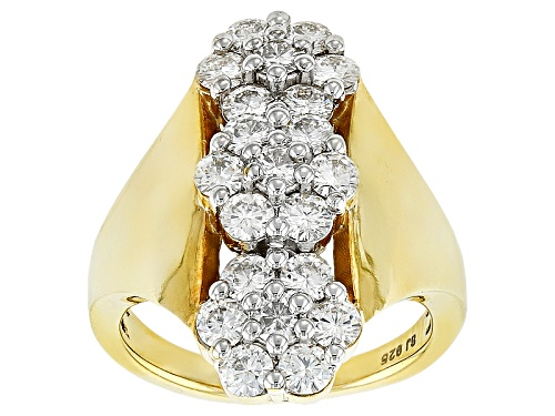 Photo of Moissanite Fire® 2.10ctw Dew Round Brilliant 14k Yellow Gold Over Sterling Silver Ring - Size 10