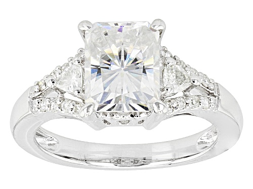 Photo of Moissanite Fire® 3.04ctw Dew Radiant Cut, Round, And Trillion Cut Platineve™ Ring - Size 10