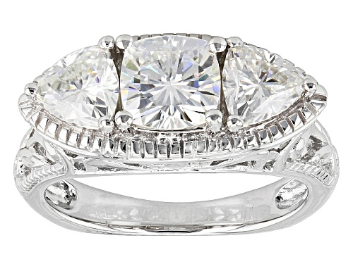 Photo of Moissanite Fire® 2.30ctw Dew Cushion And Trillion Cut Platineve™ Ring - Size 9