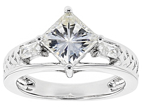 Photo of Moissanite Fire® 1.90ctw Dew Square Brilliant And Baguette Platineve™ Ring - Size 11