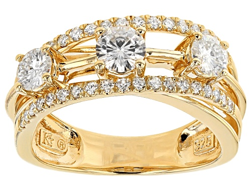 Photo of Moissanite Fire® 1.17ctw Dew Round 14k Yellow Gold Over Silver Ring - Size 9