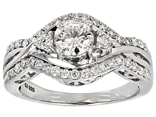 Photo of Moissanite Fire® 1.30ctw Diamond Equivalent Weight Round Platineve™ Ring - Size 12