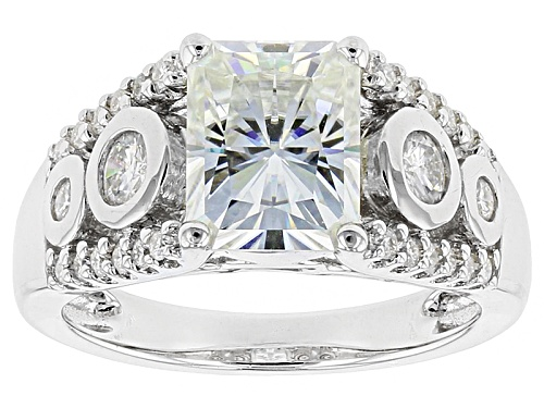 Photo of Moissanite Fire® 3.26ctw Dew Radiant Cut And Round Platineve™ Ring - Size 7