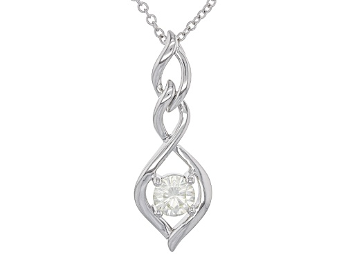 Photo of Moissanite Fire® .80ct Diamond Equivalent Weight Round Platineve™ Pendant With Chain