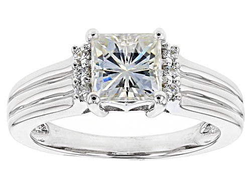 Photo of Moissanite Fire® 1.82ctw Dew Square Brilliant And Round Platineve™ Ring - Size 11