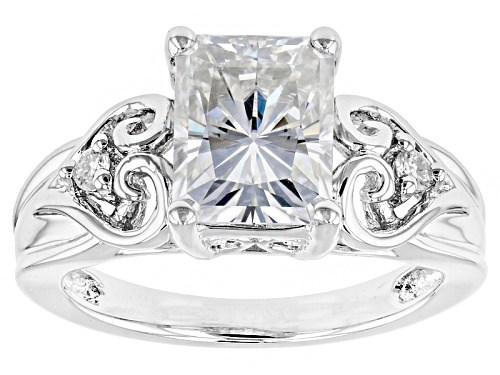 Photo of Moissanite Fire® 2.76ctw Dew Rectangular Octagonal Radiant Cut And Round Platineve™ Ring - Size 11