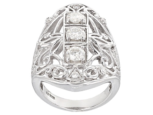 Photo of Moissanite Fire® 1.41ctw Diamond Equivalent Weight Round Platineve™ Ring - Size 7