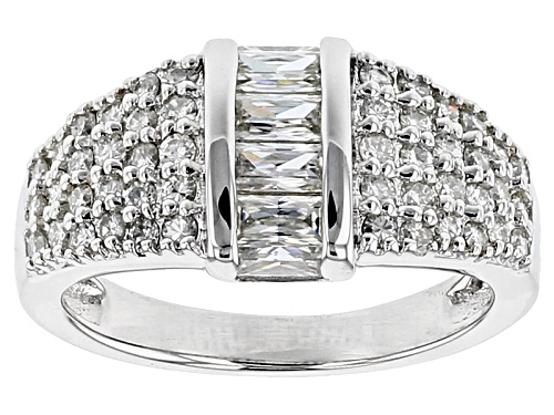 Photo of Moissanite Fire® 1.50ctw Dew Baguette And Round Platineve™ Ring - Size 7