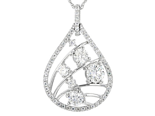Photo of Moissanite Fire® 1.96ctw Dew Round Platineve™ Pendant With Chain