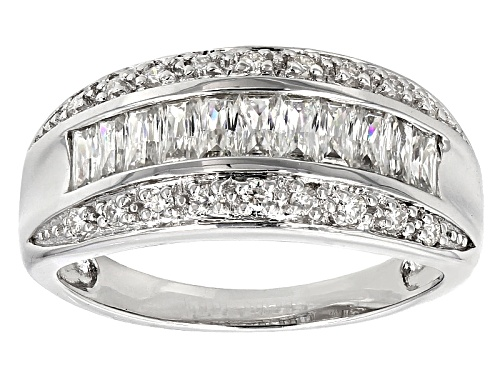 Photo of Moissanite Fire® 1.35ctw Diamond Equivalent Weight Baguette And Round Platineve™ Ring - Size 6