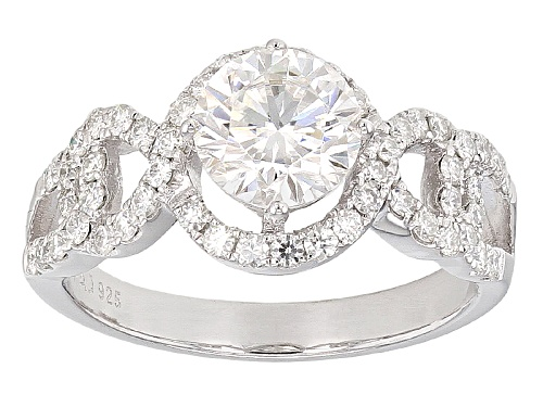 Photo of Moissanite Fire ® 1.72ctw Dew Round Platineve™ Ring - Size 6