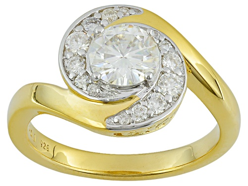 Moissanite Fire ® 1.12ctw Dew Round 14k Yellow Gold Over Sterling Silver Ring - Size 10