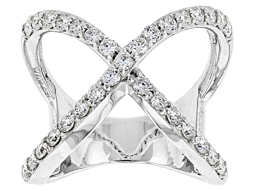 Photo of Moissanite Fire® .93ctw Diamond Equivalent Weight Round Platineve™ Ring - Size 6