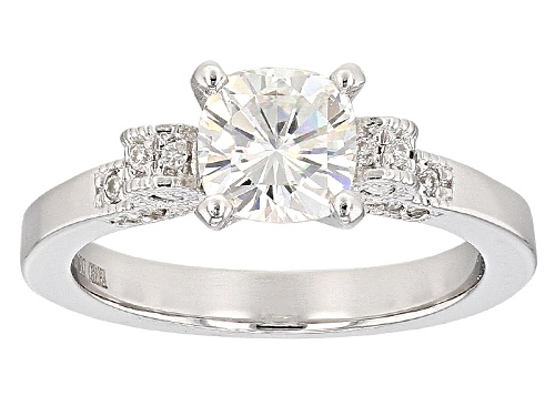 Photo of Moissanite Fire® 1.62ctw Dew Square Cushion Cut And Round Platineve™ Ring - Size 11