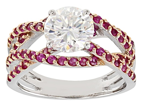 Photo of Moissanite Fire® 1.90ctw Dew & 1.40ctw Pink Sapphire Platineve™ Ring - Size 10
