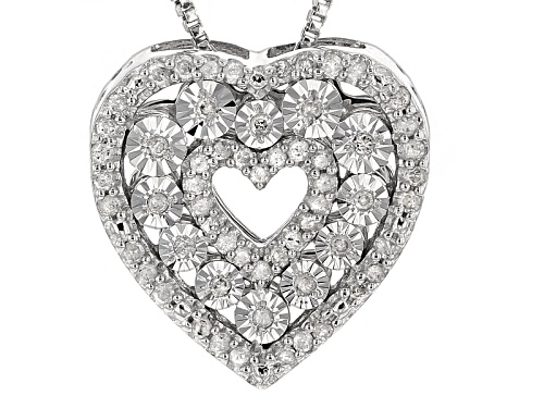 "Photo of Monture Diamond™ .21ctw Round White Diamond Rhodium Over Silver Heart Pendant W/18"" Chain"