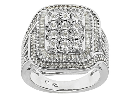 Photo of Monture Diamond™ .50ctw Round And Baguette White Diamond Rhodium Over Silver Cluster Ring - Size 6