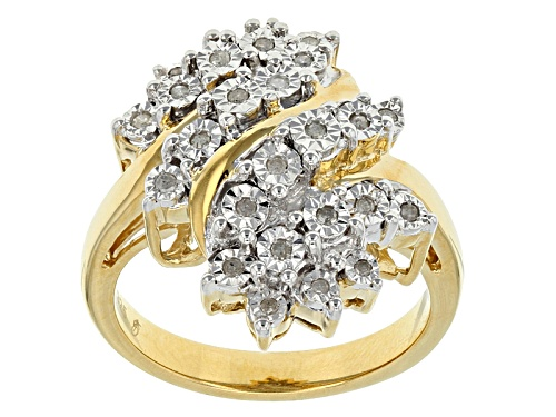 Photo of Monture Diamond™ Engild™ .15ctw Round White Diamond 14k Yellow Gold Over Silver Cluster Ring - Size 6