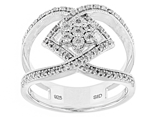 Photo of Monture Diamond™ .21ctw Round White Diamond Rhodium Over Sterling Silver Cluster Ring - Size 6
