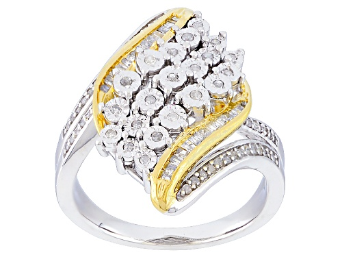 Photo of Monture Diamond™ .33ctw Round & Baguette White Diamond Rhodium & 14k Yellow Gold Over Silver Ring - Size 8