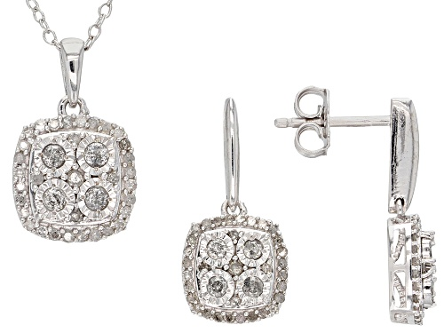 Photo of Monture Diamond Collection™ .75ctw Round White Diamond Rhodium Over Silver Pendant and Earring Set