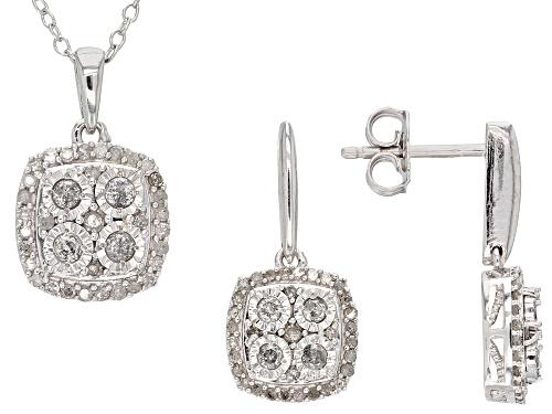 Photo of Monture Diamond Collection™ .75ctw Round White Diamond Rhodium Over Silver Pendant and Earring Set