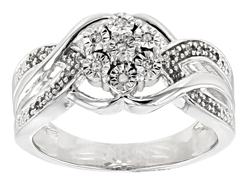 Photo of Monture Diamond Collection™ .10ctw Round White Diamond Rhodium Over Sterling Silver Ring - Size 6