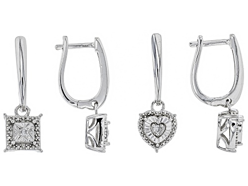 Photo of Monture Diamond Collection™ .10ctw Round White Diamond Rhodium Over Sterling Silver Earring Set of 2