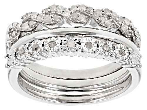 Photo of Monture Diamond™ .25ctw Round White Diamond Rhodium Over Sterling Silver Band Set of 3 - Size 6