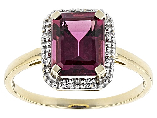 Photo of 2.25ct Emerald Cut Grape Color Garnet With .06ctw Round White Zircon 10k Yellow Gold Ring - Size 7