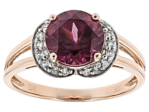 Photo of 1.78ct Round Grape Color Garnet With .14ctw Round White Zircon 10k Rose Gold Ring. - Size 7
