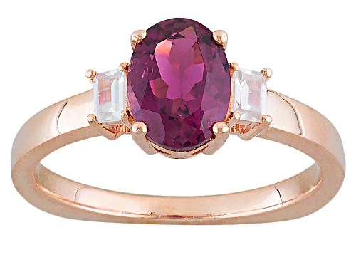 Photo of .94ct Oval Rubellite And .20ctw Baguette White Zircon 10k Rose Gold Ring - Size 8