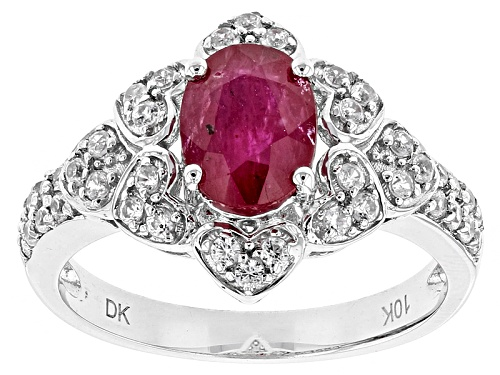 Photo of 1.00ct Oval Ruby With .66ctw Round White Zircon 10k White Gold Ring - Size 7