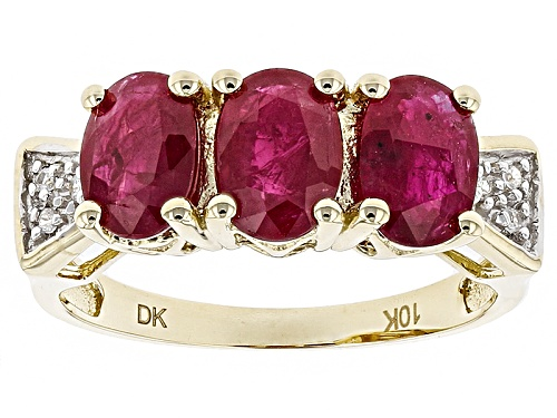 Photo of 2.16ctw Oval Ruby With .02ctw Round White Zircon 10k Yellow Gold 3 Stone Band Ring - Size 9