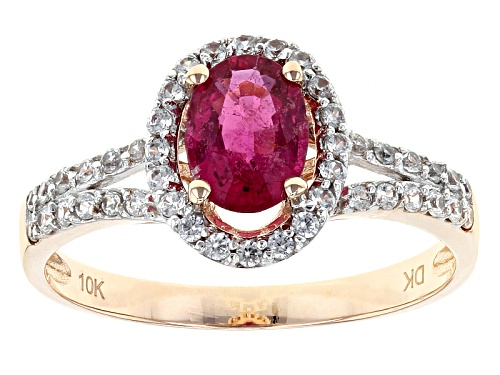 Photo of .75ct Oval Rubellite With .31ctw Round White Zircon 10k Rose Gold Ring - Size 8
