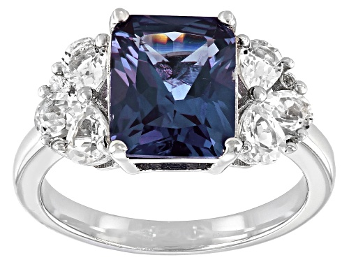 Photo of 3.30ct Purple Lab Created Color Change Sapphire with .87ctw White Topaz Rhodium Over Silver Ring - Size 8