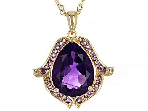 Photo of 6.46ct Pear Shape and .45ctw Round African Amethyst 18k Gold Over Silver Pendant With Chain