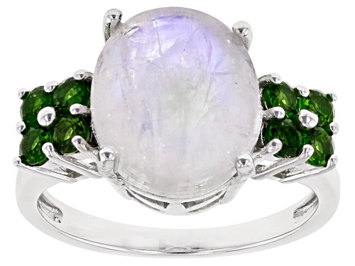 Photo of 12x10mm Rainbow Moonstone with .56ctw Russian Chrome Diopside Rhodium Over Sterling Silver Ring - Size 8