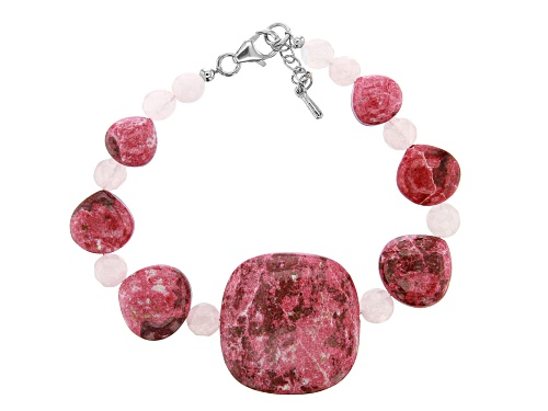 24mm Square Cushion With 14-9mm Heart Thulite And 6mm Rose Quartz Rhodium Over Silver Bracelet - Size 7.25