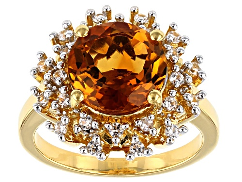 Photo of 2.98ct Round Madeira Citrine with .41ctw Zircon 18k Gold Over Sterling Silver Halo Ring - Size 8