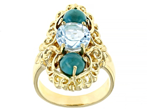Photo of 6MM CABOCHON TURQUOISE WITH 2.00CTW GLACIER TOPAZ(TM) 18K YELLOW GOLD OVER STERLING SILVER RING - Size 8