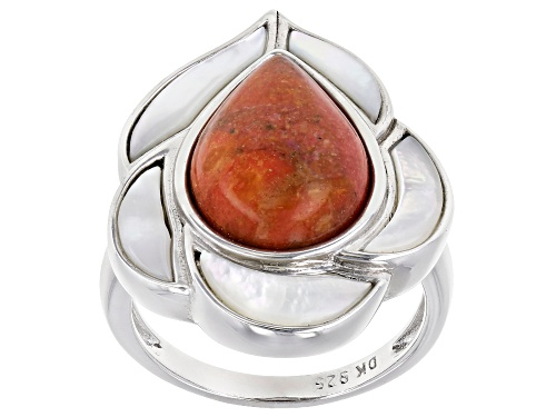 Photo of 14x10mm Pear Shape Red Sponge Coral and White Mother-of-Pearl Rhodium Over Silver Ring - Size 8