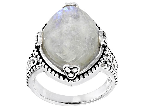 Photo of 18x13mm Marquise cabochon Rainbow Moonstone Rhodium Over Sterling Silver Solitaire Ring - Size 8