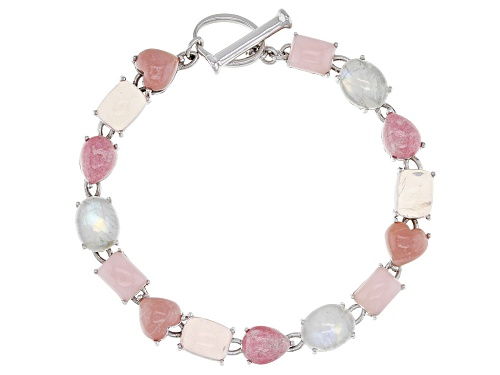 Photo of Pink Opal, Rainbow Moonstone, Thulite, Rose Quartz & Pink Mookaite Rhodium Over Silver Bracelet - Size 7.25