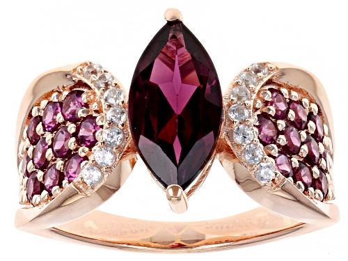 Photo of 2.76ctw Raspberry Color Rhodolite & .12ctw Zircon 18k Rose Gold Over Silver Ring - Size 10