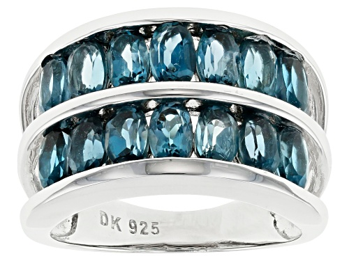 Photo of 3.00ctw Oval London Blue Topaz Rhodium Over  Sterling Silver Double Band Ring - Size 8